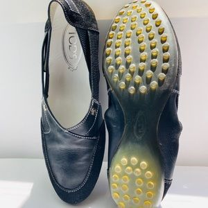 Tod's Black Leather studded scrunch Flat Shoes